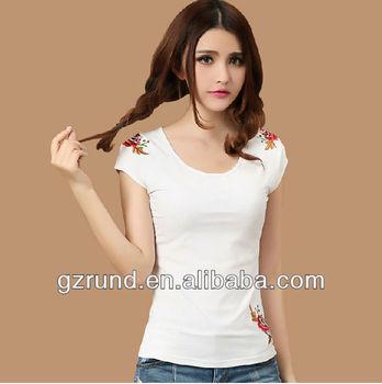 2014 primavera nova moda Slim branco de manga curta t - camisa as mulheres  china fabricante 632adb3b87390
