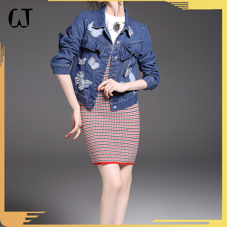 F5048#2018 Wholesale New Arrivals Wash Slim Fit Women Butterfly Patchwork Denim Jacket Coat For Stock