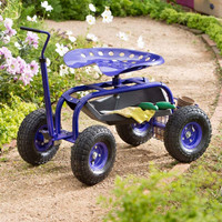 Tractor Seat Garden Scooter Cart With Handle