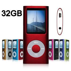 G.G.Martinsen 32 GB MINI-USB-PORT Red Portable MP3/MP4 Player with Multi-lingual OS , Multi-Functional MP3 Player / MP4 Player with Mini USB Port, Voice Recorder , Media Player , E-book reader
