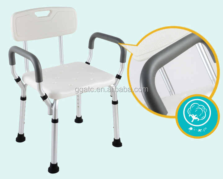 Home Care Aluminum Plastic Mobile Shower Chairs Medical Bath Chair