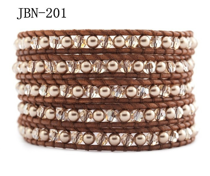 Eu and USA Style Crystal and Pearl Ball Beads 5 Wrap Handmade Bradied Leather Bracelet With Stainless Steel Button