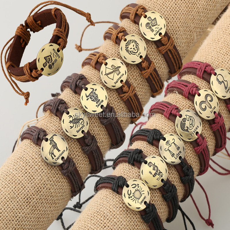 Punk Wooden Beads Charm Jewelry Bronze Alloy 12 Zodiac Leather Bracelets For Men (SWTFF009)