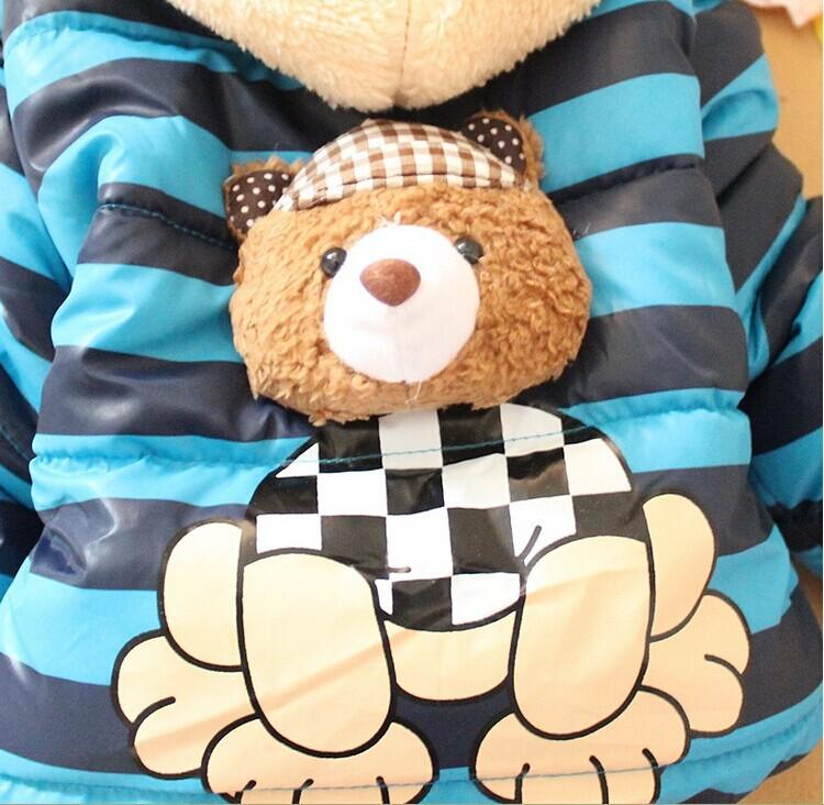 2015 новая зимняя одежда панда кролик мальчиков новорожденных девочек верхняя одежда для новорожденных мультфильм пуховик C02