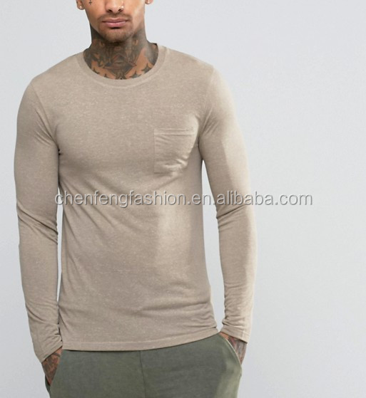 Linen Mix Muscle Long Sleeve T-Shirt With Pocket In Beige