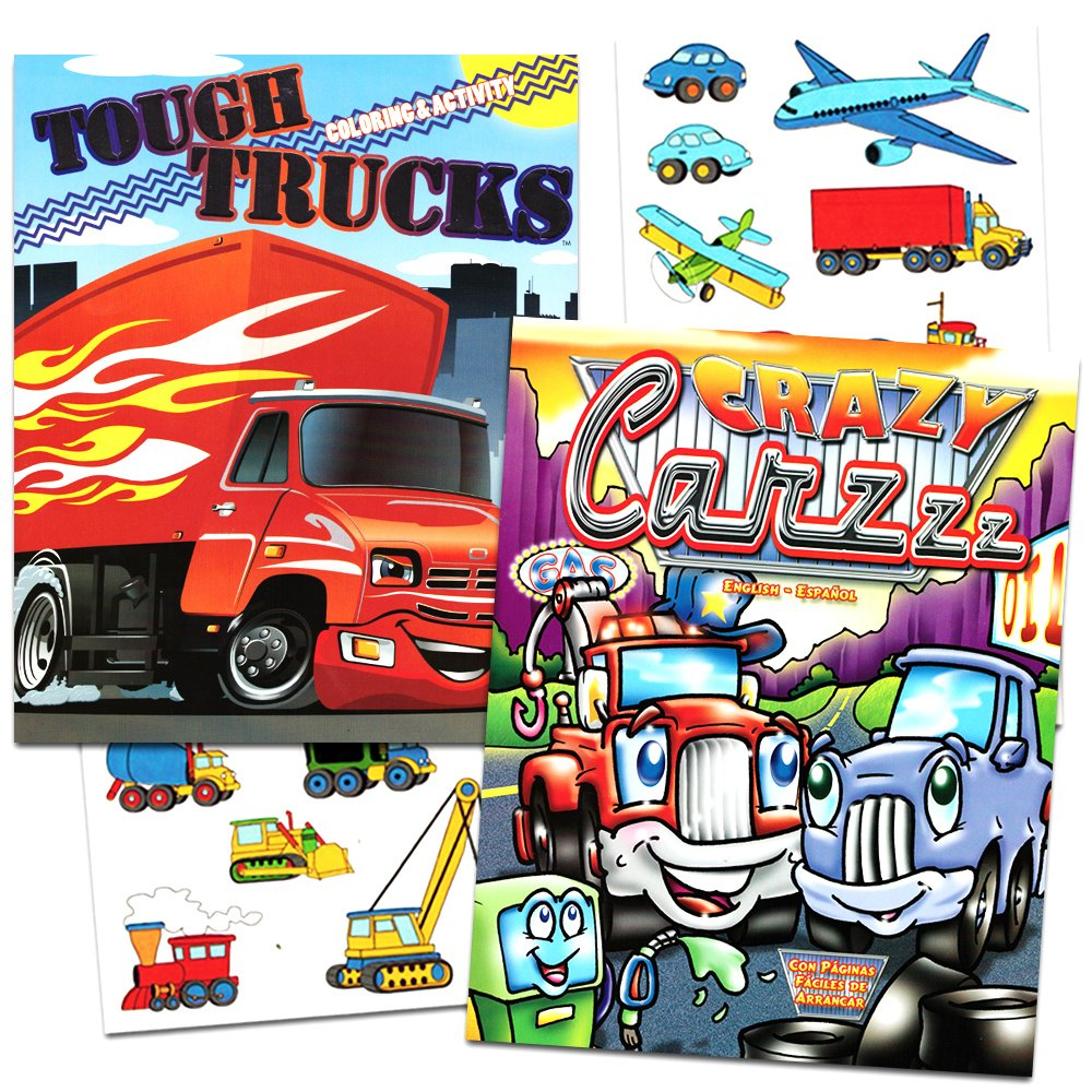 Cars and Trucks Coloring Book Set -- 2 Books and Over 50 Stickers (Cars, Fire Trucks, Construction, Trains and More!)