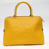 Online shopping simple style yellow tote bags trendy ladies real leather shoulder bags