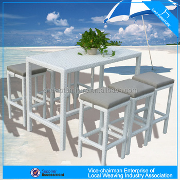 A - dubai outdoor pub set white long tall table and wicker stools CF836  sc 1 st  Alibaba : tall table and stools set - pezcame.com