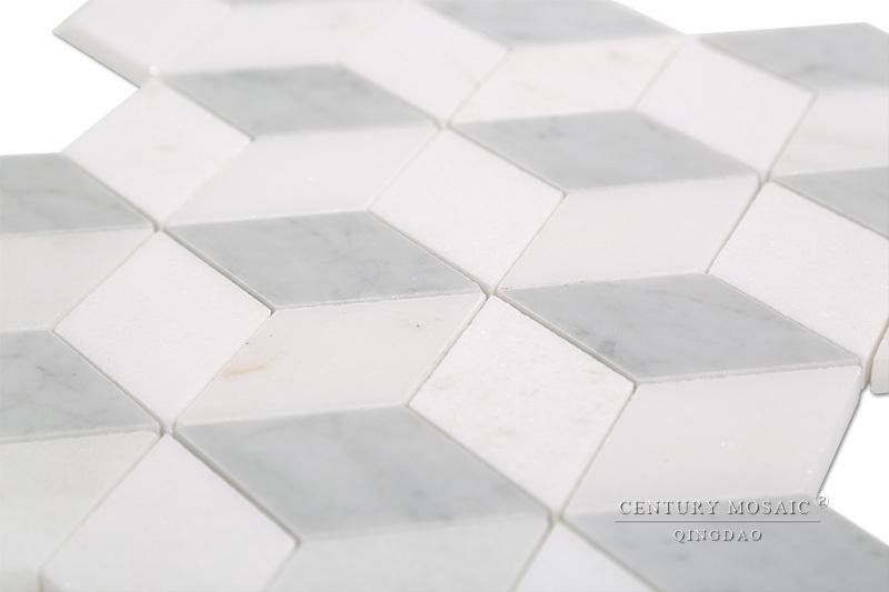 Salle De Bain Décor Design Italien Marbre Blanc De Carrare Losange - Carrelage losange