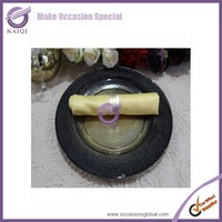 17728 black wholesale rhinestones crystone charger clear glass plates