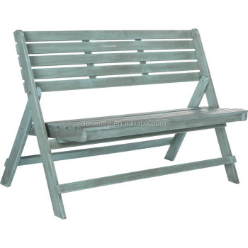 Blue Color Folding Wood Garden Bench