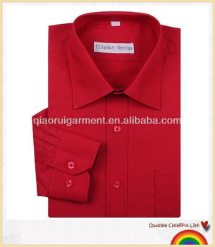 6cdcfd5b389f0 Formal design long sleeve red solid color plus size shirts for men ...