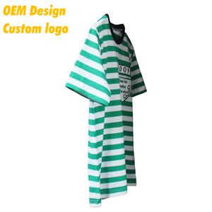 Custom Promotional Plain Collar Neck Ringspun Short Sleeves Green Stripe t shirt