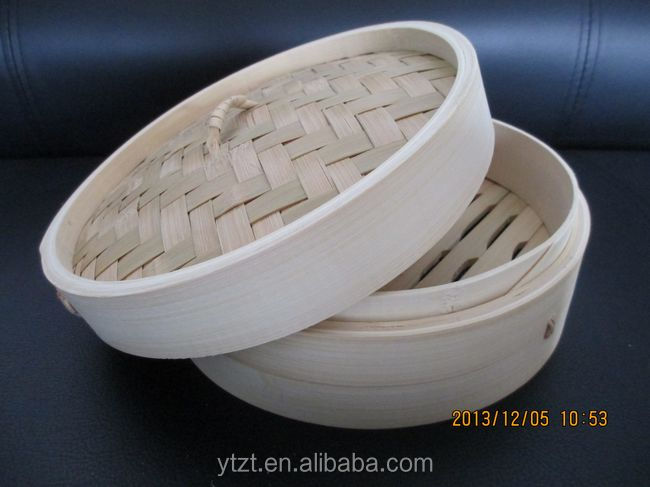 "10"" Bamboo Steamer Chinese Dim Sum Basket Rice Pasta Cooker 2 Tier Set with Lid"