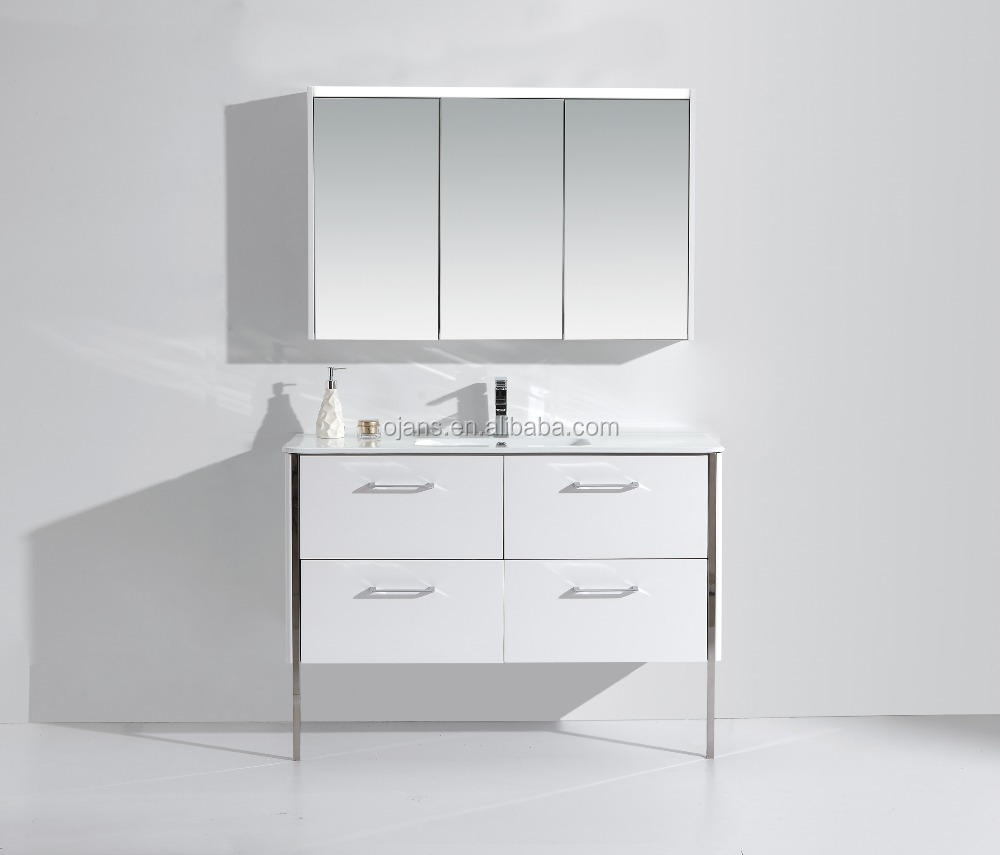 47 Inch Bathroom Vanity With Legs,Mirror Cabinet With Three Doors ...