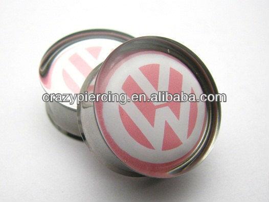 Ww Volkswagen Pink Stainless Steel Jewelry Ear Flesh Tunnel Plug ...