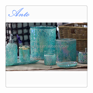 Crackled Mosaic Glass Bathroom Accessories Sets Tissue Jar+Waste bin+Tumbler+Cotton Jar+Brush Holder+Lotion Pump+Tray+ Soap Dish