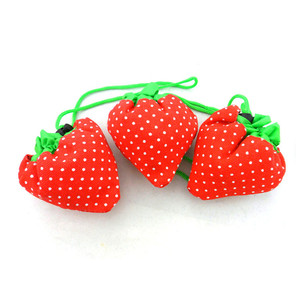 custom pattern strawberry foldable recycle bag in pouch eco polyester storage foldable shopping bag
