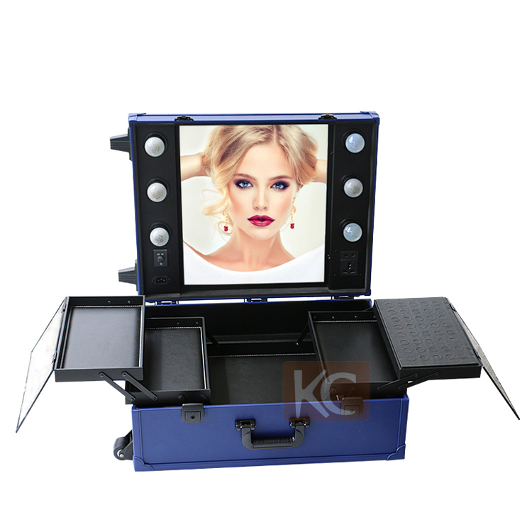 Hot Products Mobile Professional Aluminum Beautiful Makeup Case With Light  , Legs ,mirror/Portable