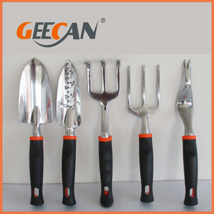 Customized Aluminum Alloy 5PCS GardenTool Set with Shovel and Rake