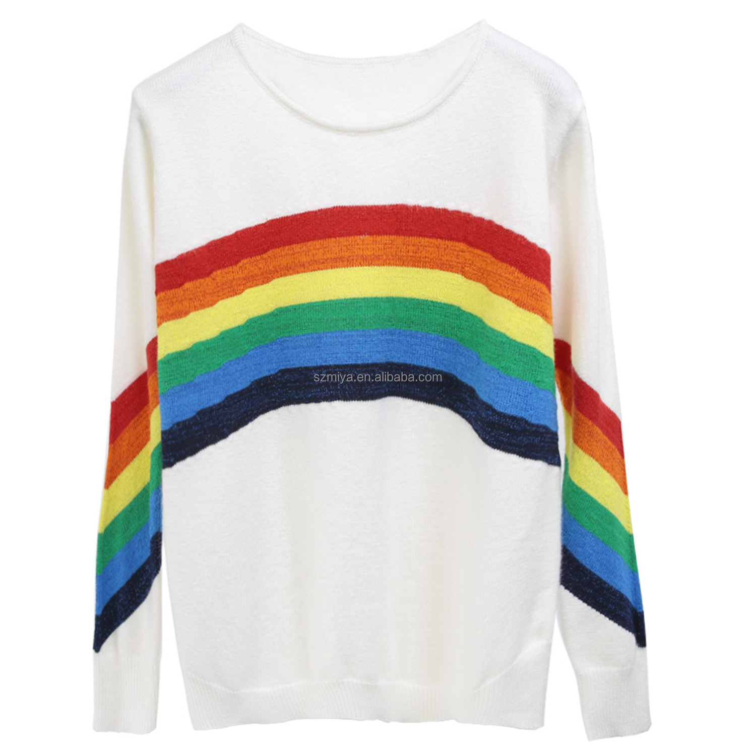 2018 autumn new fashion women's round neck rainbow striped pullover sweater christmas sweaters