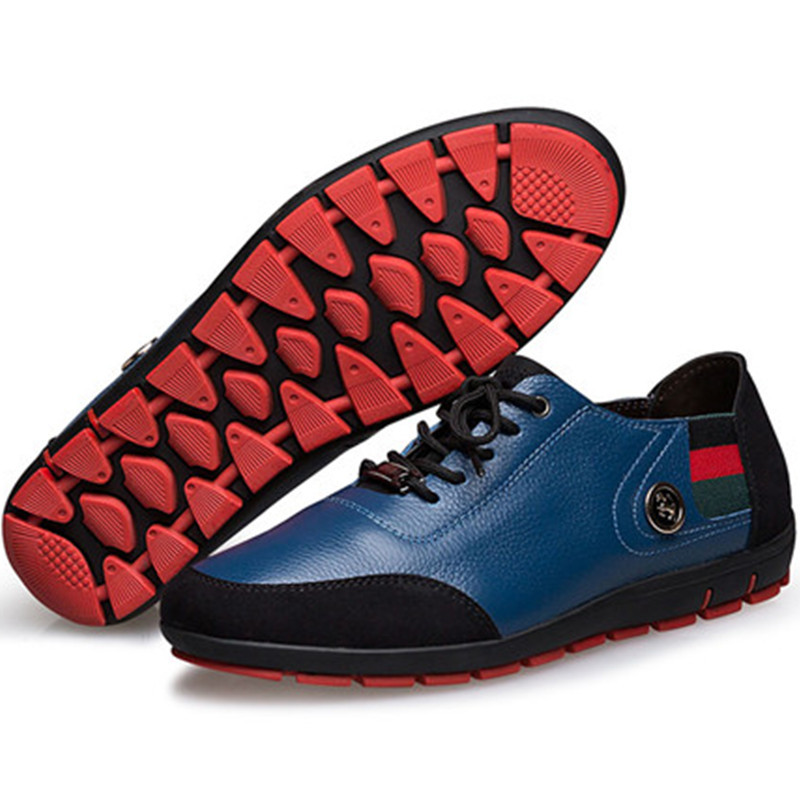 New 2015 Brand Men Oxford Shoes Genuine Leather Casual Breathable Lace Up Classic Men Flat Shoes zapatos Summer Blue Size 37-47