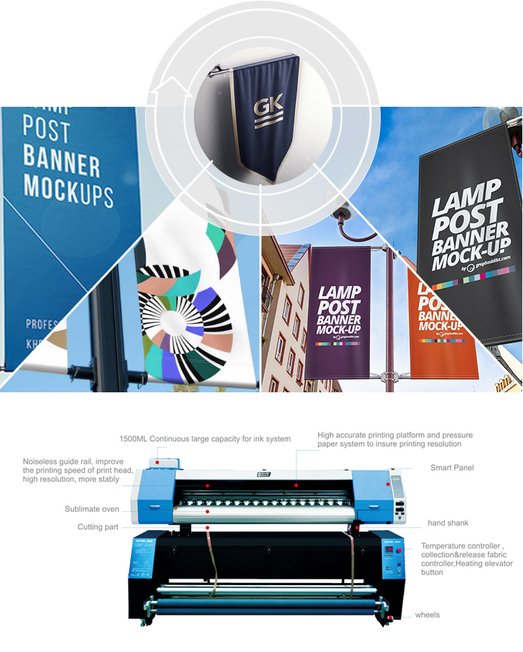Wholesale printer supplier 180cm sublimation flag printer machine for banner