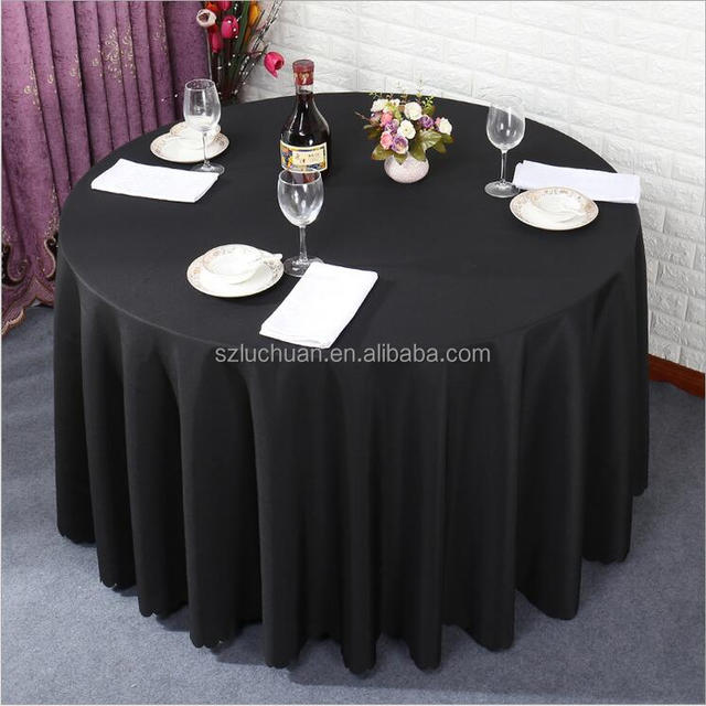 Bon Wholesale Cheap Round Polyester Hotel Black Tablecloth