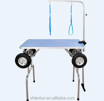 wheeled foldable dog grooming table