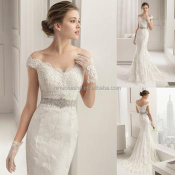 Stylish 2017 Lace Mermaid Wedding Dress V Neck Off Shoulder Cap Sleeve Beaded Sash