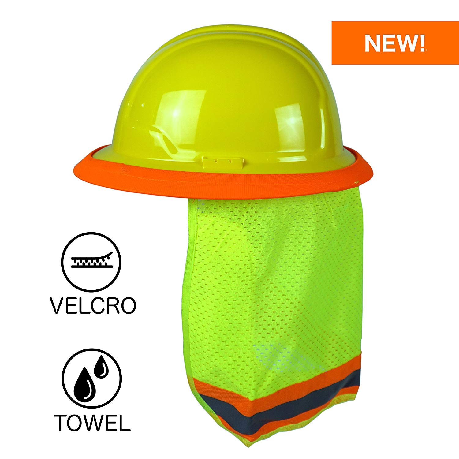 Get Quotations · BEST EVER Pro Hard Hat Sun Shade. Premium Neck Shield with  Velcro Fasteners and Built 97922c170f66