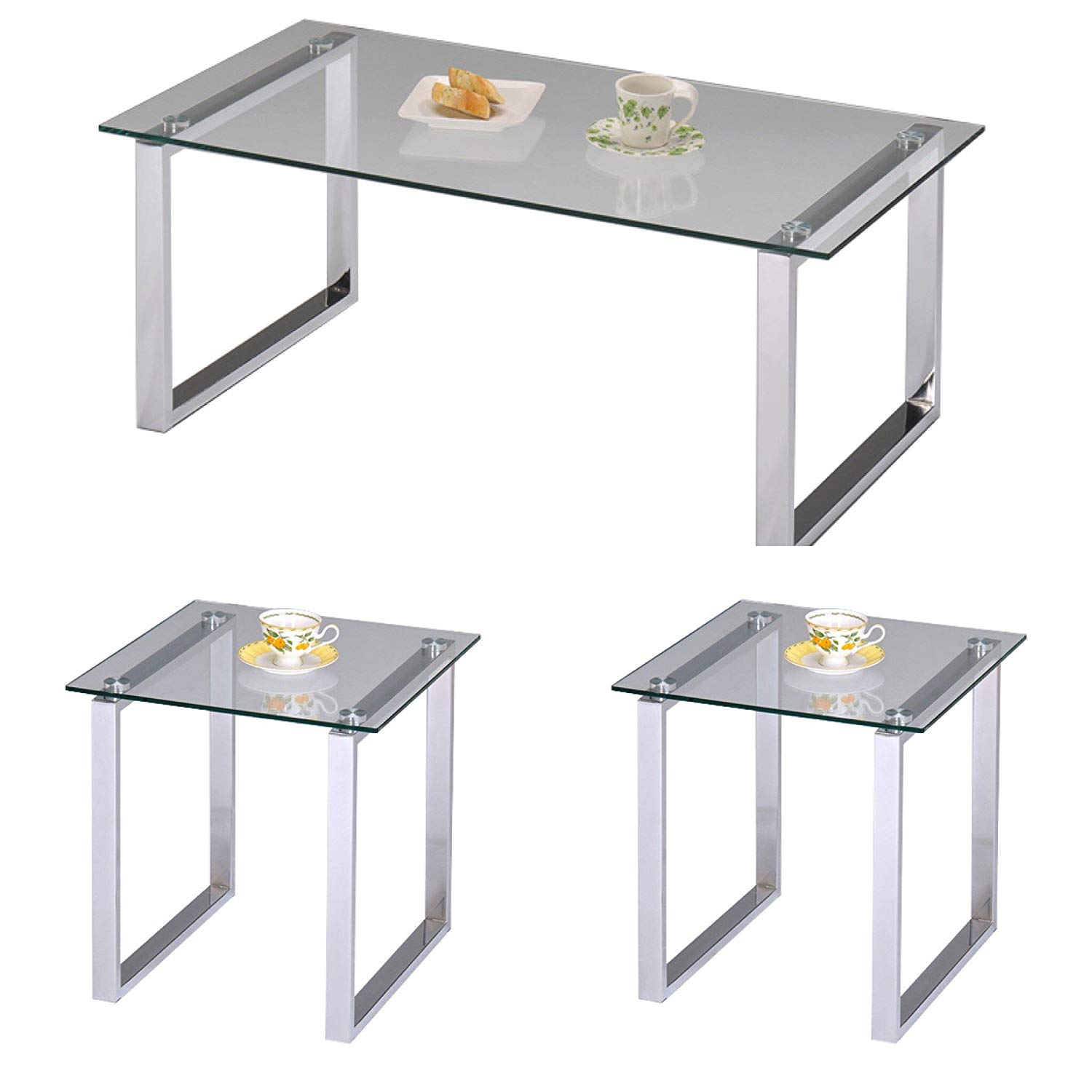 Pilaster Designs - 3 Pc. Modern Chrome Finish With Glass Top Cocktail Coffee Table & 2 End Tables