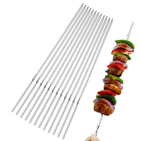 "Stainless Steel BBQ Barbecue Skewers Set 14"" Flat Metal Skewers for Grilling"