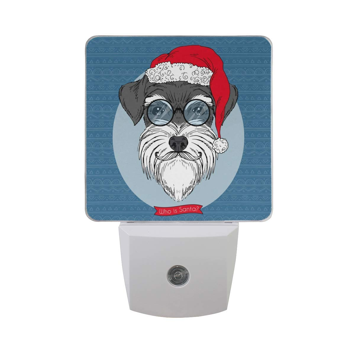 WIHVE Christmas Santa Schnauzer 2 Pack 0.5W Plug-in LED Night Light Lamp with Dusk to Dawn Sensor, Night Home Decor Bed Lamp
