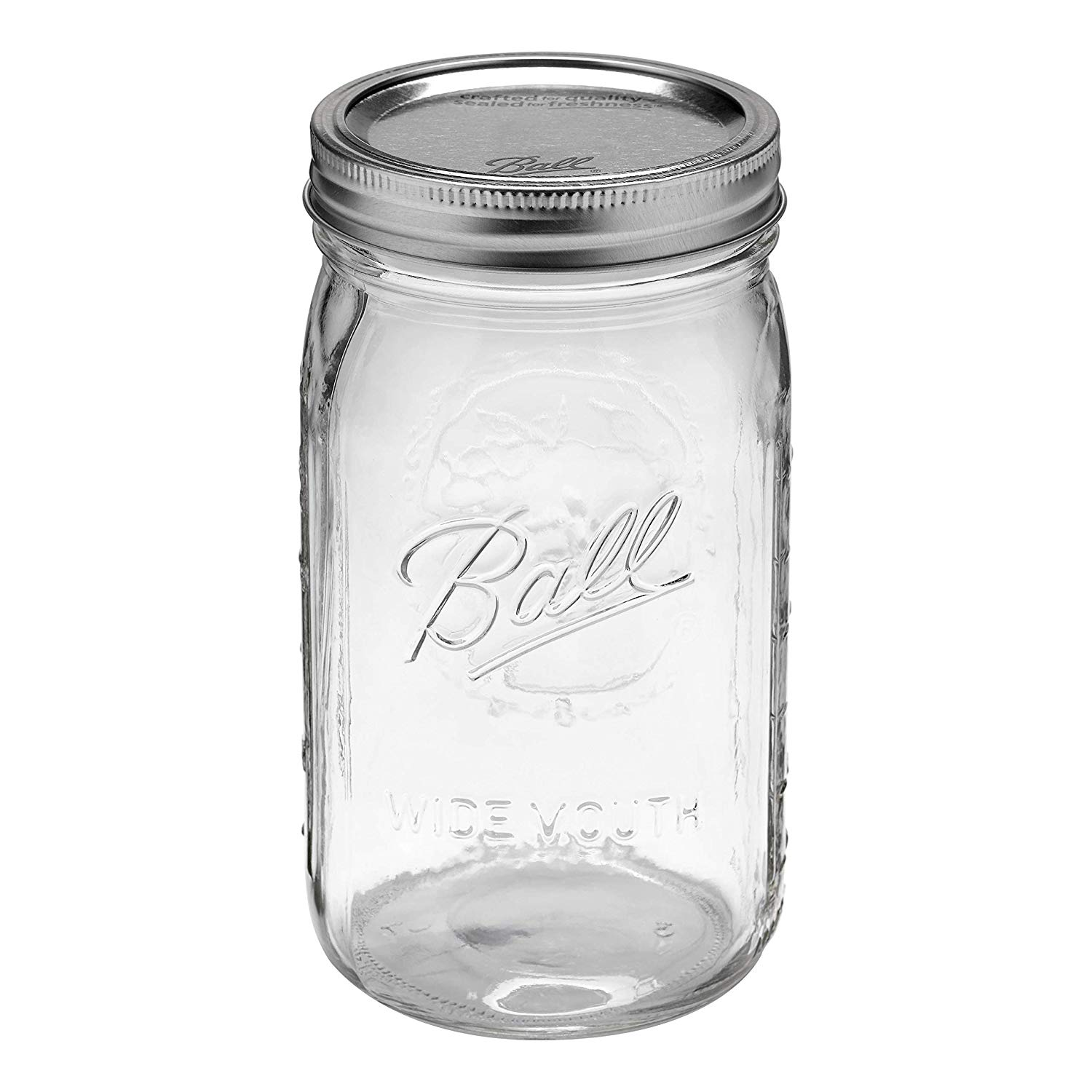 Ball Wide Mouth Quart Glass Mason Jars with Lids and Bands, 32 oz, 12 Count
