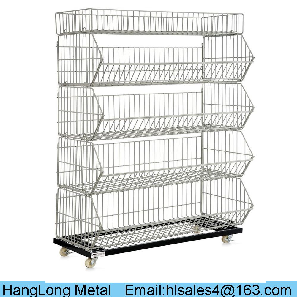 durable supermarket use 5 tier wire basket display