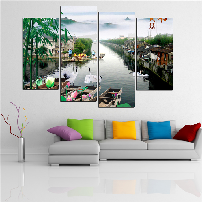 Exquisite Wall Coverings From China: 4 Panels China Beautiful Town Modern Art Canvas Wall
