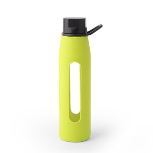 570ml Travelling Portable Unbreakable Purity Glass Water Bottle with Silicone Sleeve