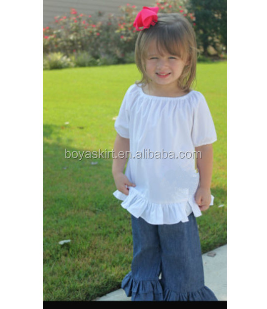 Suppliers low price wholesale little girl boutiques clothing white top capris matching sets summer girl boutique sets top seller