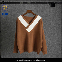 OEM Knit V Neck Yellowish Brown Womens Pullover Sweater