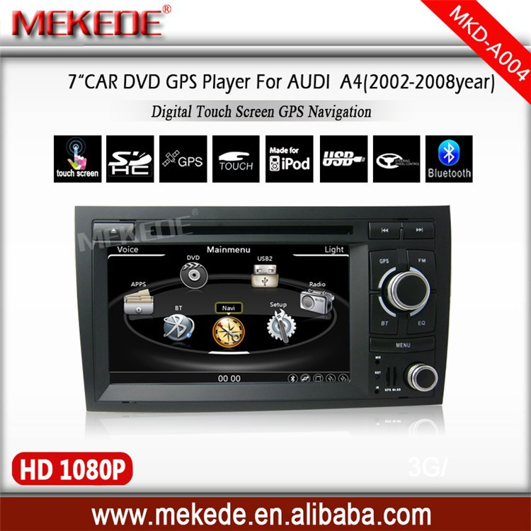 7''Car Audio For Audi A4 support 1080P video with DVD/GPS/Radio/Ipod/ATV/Bluetooth/3G usb/sd usb