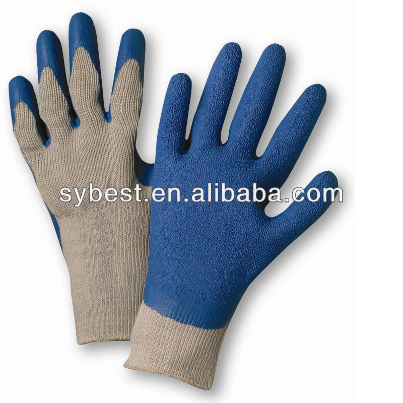 Blue Crinkle Finish Latex Palm Coated Gray Gloves