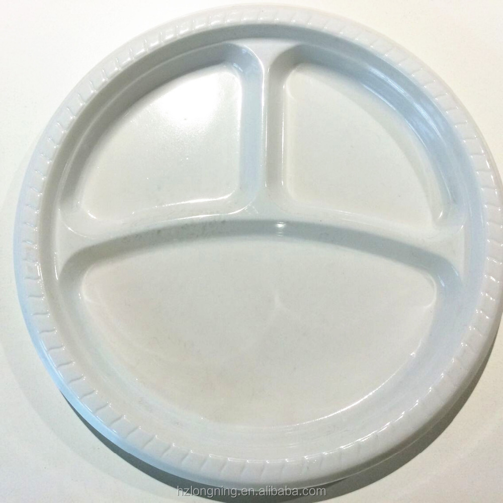 10 inch three compartments disposable white black plastic plate