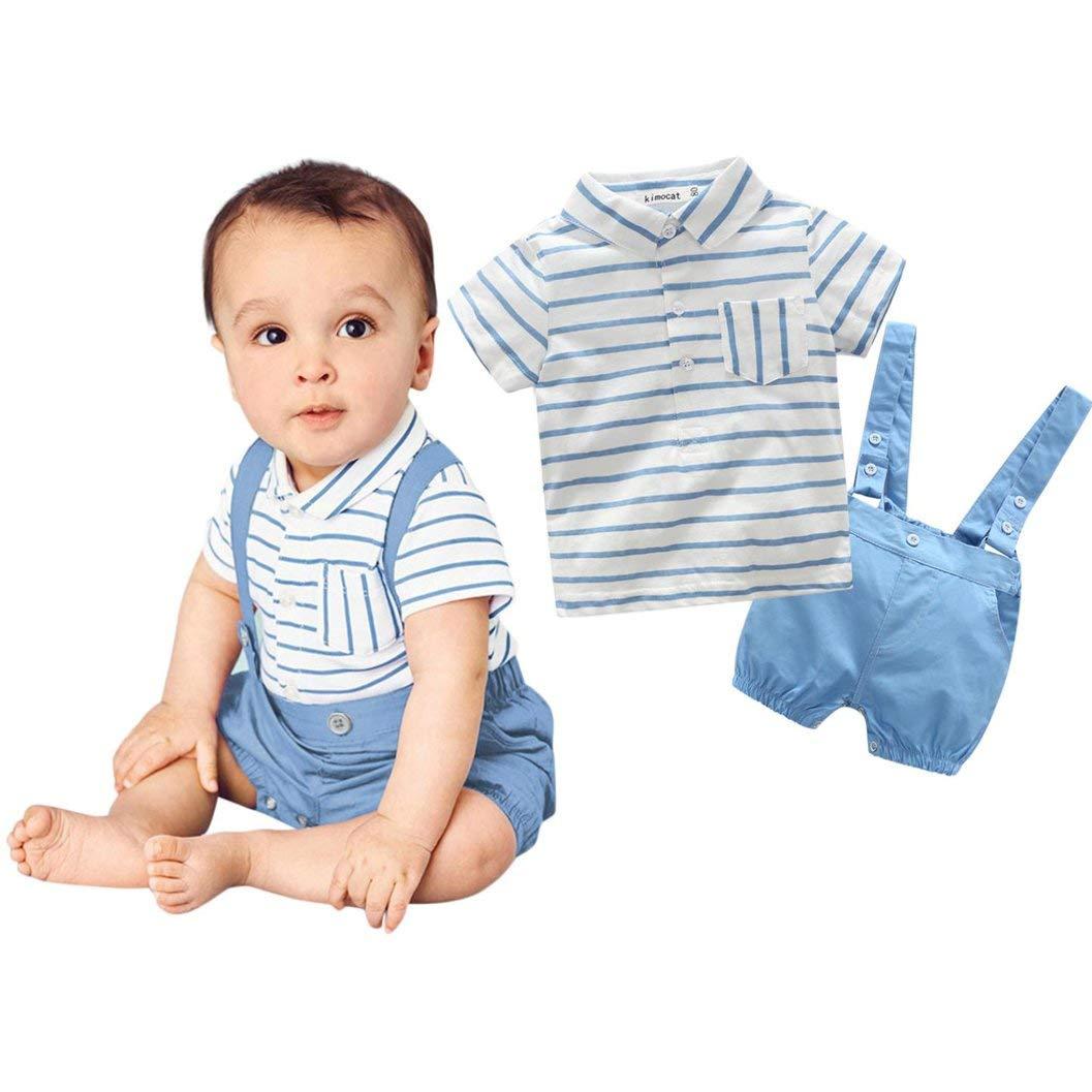 Infant Newborn Baby Boys Gentleman Short Sleeve Striped Shirt Tops+Bib Pants Outfits 2Pcs/Set