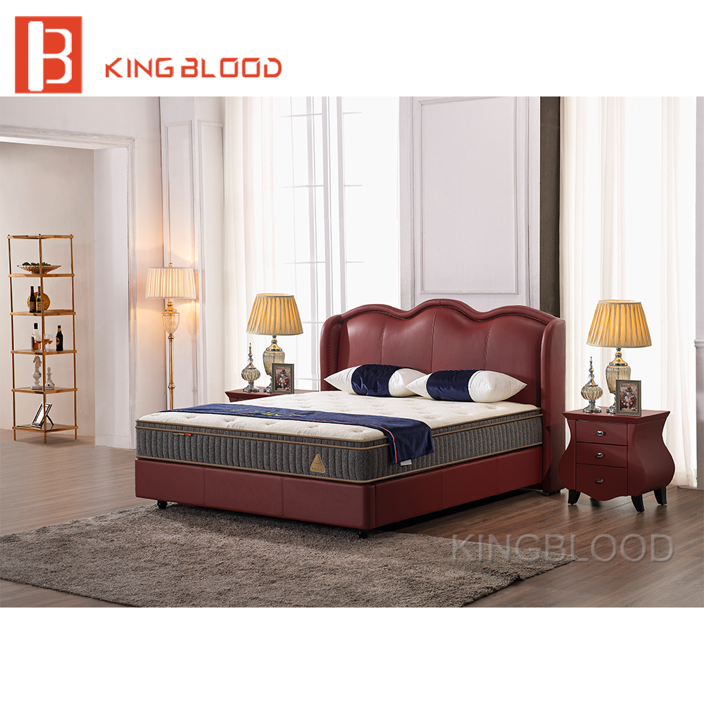 - Latest New Divan Bed Designs Red Color Full Leather Double Cot