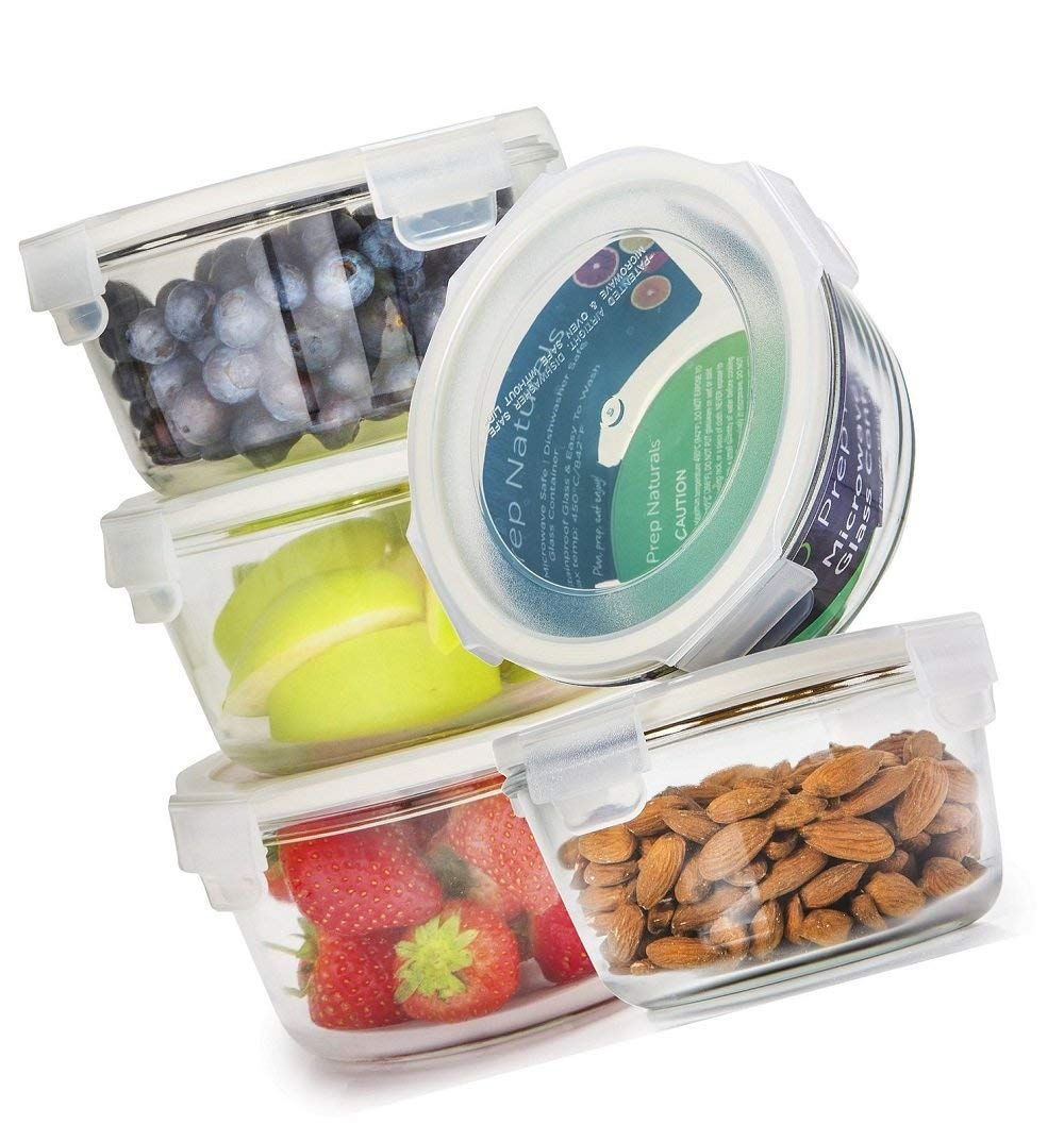 Green_Kitchen Glass Meal Prep Containers Glass Round - Glass Food Storage Containers - Glass Storage Containers With Lids - Glass Lunch Containers Food Container - Glass Food Containers, 25oz