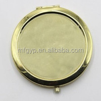 Blank gold plating round shape make up pocket mirror for sale