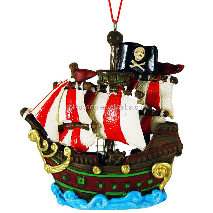 Pirate Ship Hanging Resin Christmas Ornament