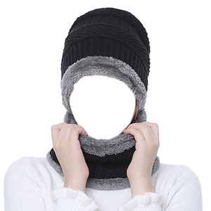 d16f5a63ed9 Wholesale 2 Pieces Winter Beanie Wool Hat Scarf Set Warm Knit Hat Thick  Fleece Lined Winter