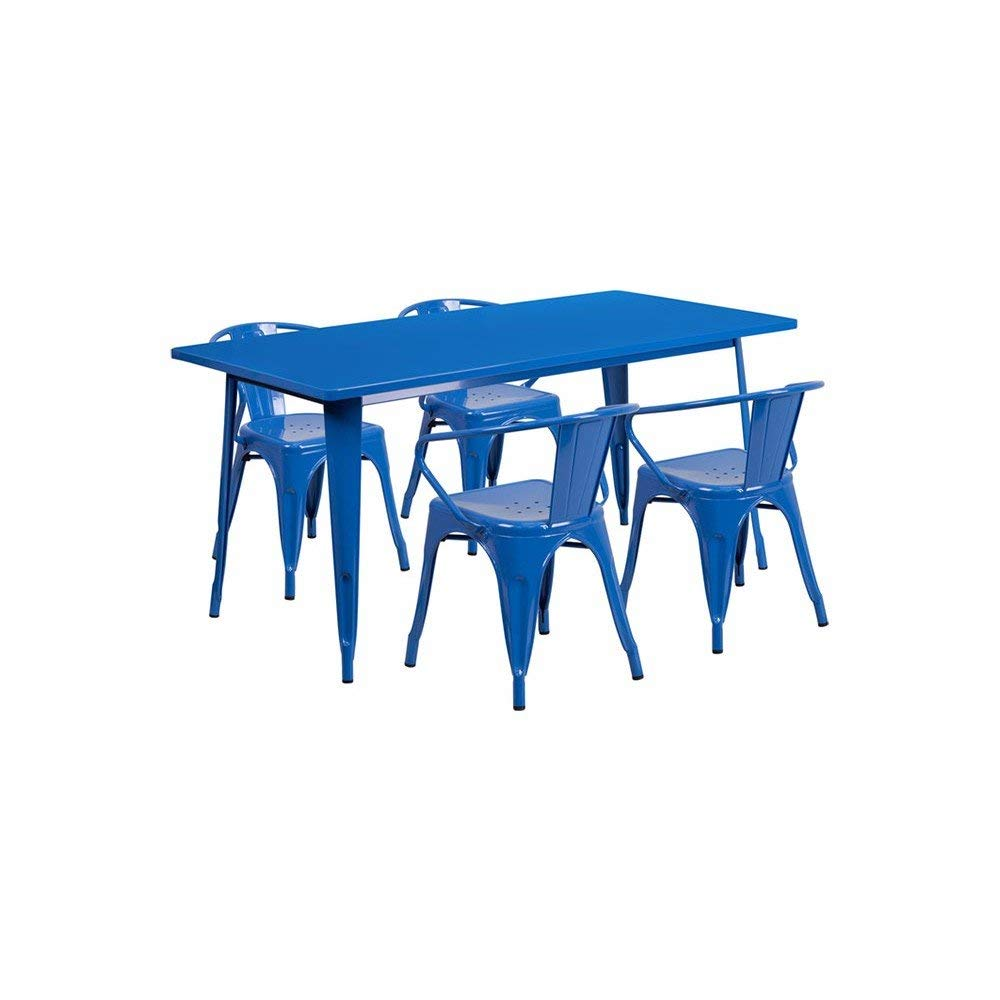 """Offex OFX-380690-FF 31.5"""" x 63"""" Rectangular Metal Indoor Table Set with 4 Arm Chairs - Blue"""